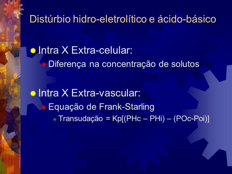 Distúrbios ácido-básico Alcalose respiratória: Secundária a hiperventilação: Causas: Ansiedade, dor, hipóxia, intoxicação por AAS; Diagnóstico: Cefaléia e confusão mental; Gasometria arterial: Hipocapnia pH > 7,45 pCO 2 < 35 e Bic.