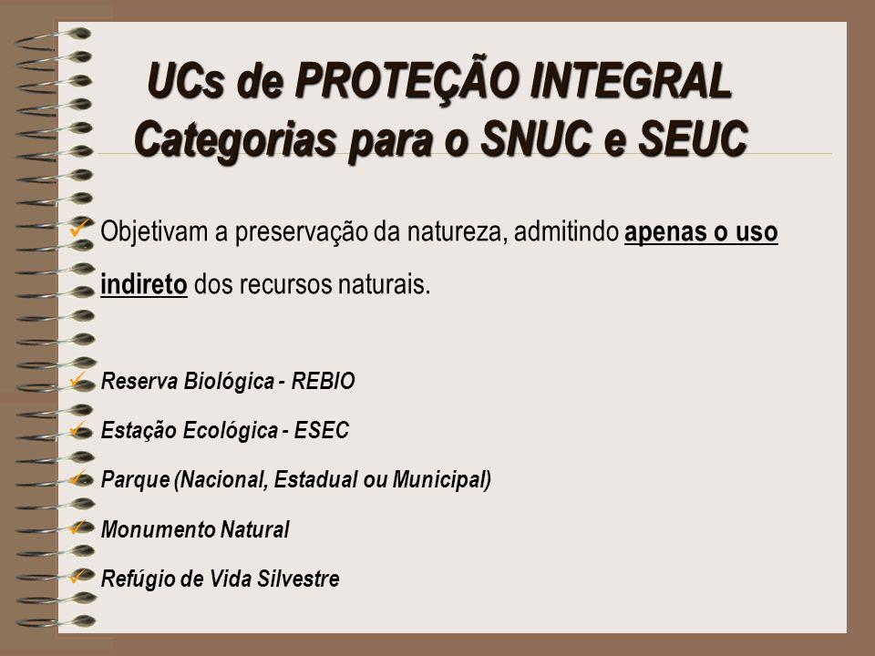 UCs de PROTEÇÃO INTEGRAL Categorias para o SNUC e SEUC Objetivam a preservação da natureza, admitindo apenas o uso indireto dos recursos naturais. Res