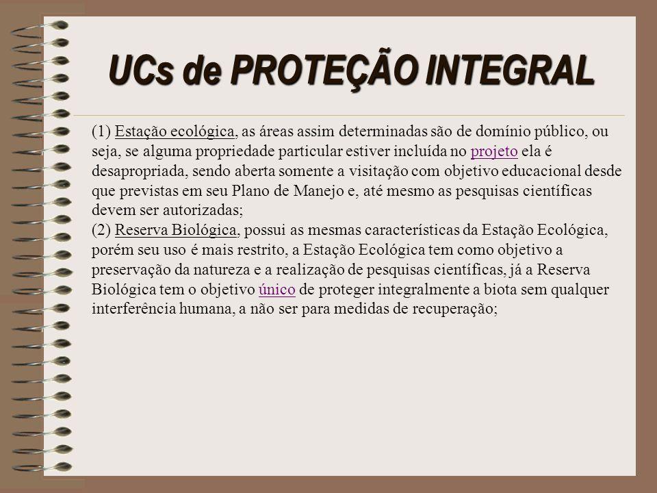 UCs de PROTEÇÃO INTEGRAL (1) Estação ecológica, as áreas assim determinadas são de domínio público, ou seja, se alguma propriedade particular estiver