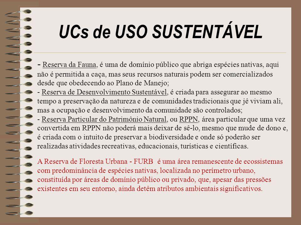 UCs de USO SUSTENTÁVEL - Reserva da Fauna, é uma de domínio público que abriga espécies nativas, aqui não é permitida a caça, mas seus recursos natura