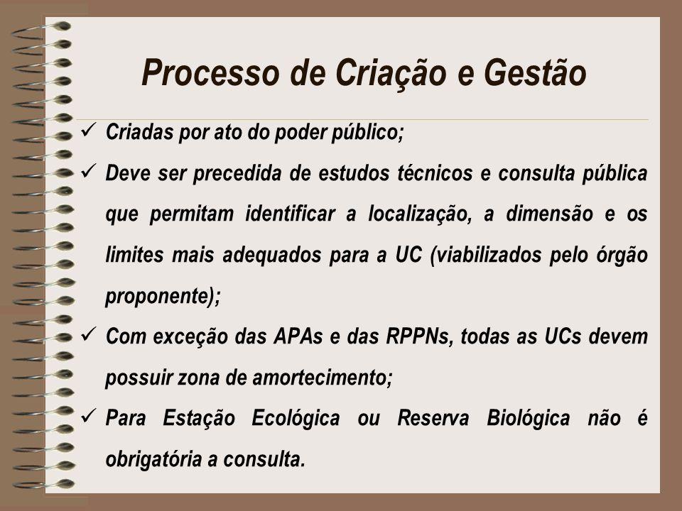 Processo de Criação e Gestão Criadas por ato do poder público; Deve ser precedida de estudos técnicos e consulta pública que permitam identificar a lo