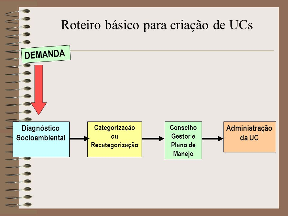 Diagnóstico Socioambiental Categorização ou Recategorização Conselho Gestor e Plano de Manejo Administração da UC Roteiro básico para criação de UCs D