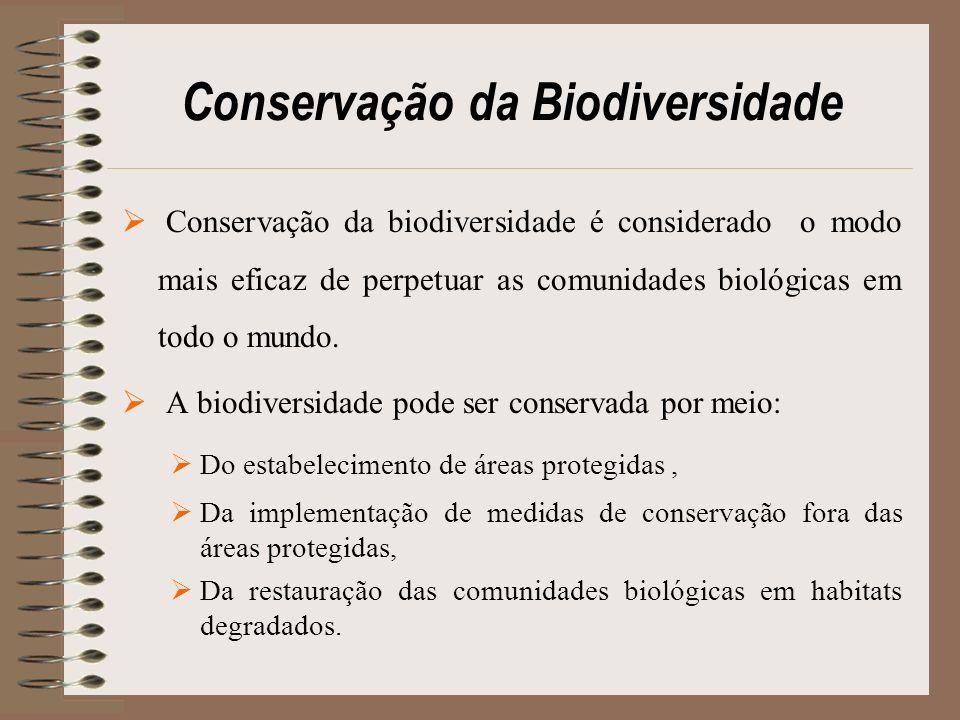 Conservação da Biodiversidade Conservação da biodiversidade é considerado o modo mais eficaz de perpetuar as comunidades biológicas em todo o mundo. A
