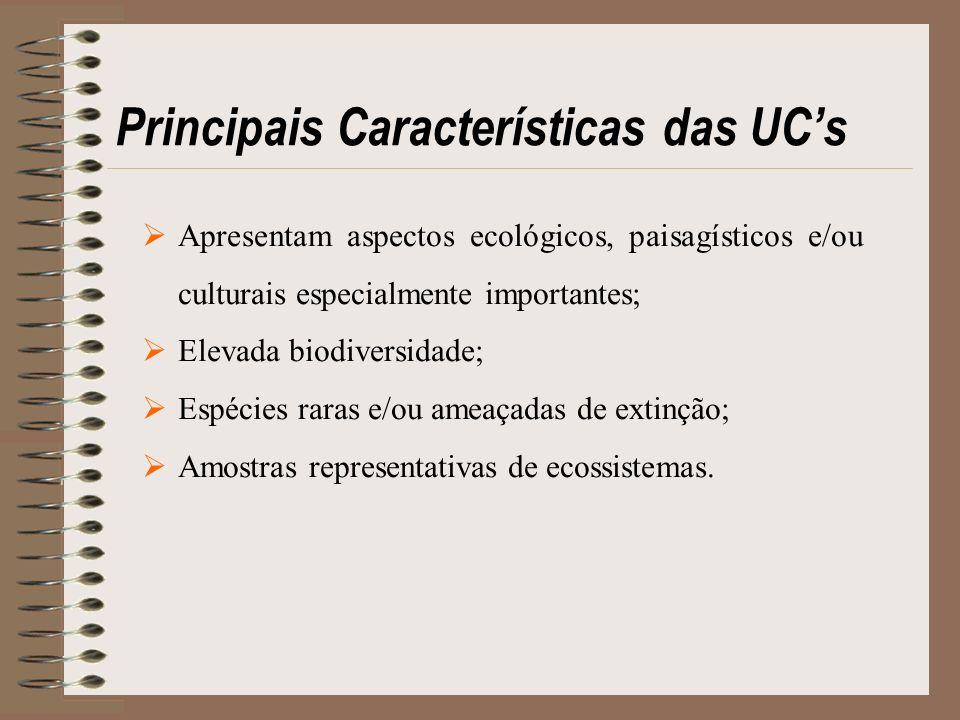 Principais Características das UCs Apresentam aspectos ecológicos, paisagísticos e/ou culturais especialmente importantes; Elevada biodiversidade; Esp