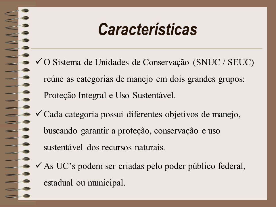 Características O Sistema de Unidades de Conservação (SNUC / SEUC) reúne as categorias de manejo em dois grandes grupos: Proteção Integral e Uso Suste
