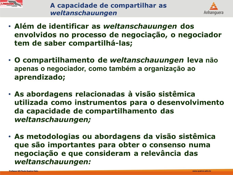 Capa da Obra Além de identificar as weltanschauungen dos envolvidos no processo de negociação, o negociador tem de saber compartilhá-las; O compartilh