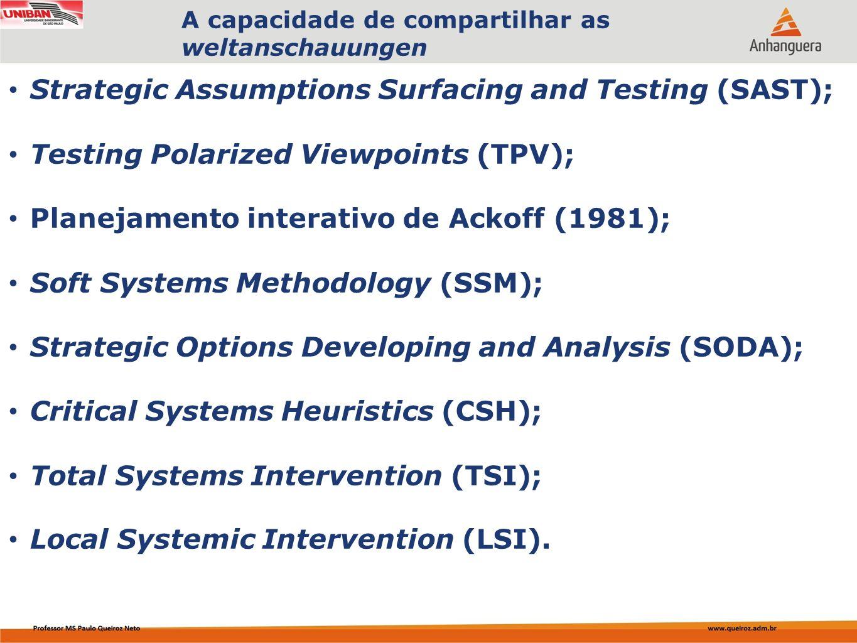 Capa da Obra Strategic Assumptions Surfacing and Testing (SAST); Testing Polarized Viewpoints (TPV); Planejamento interativo de Ackoff (1981); Soft Sy