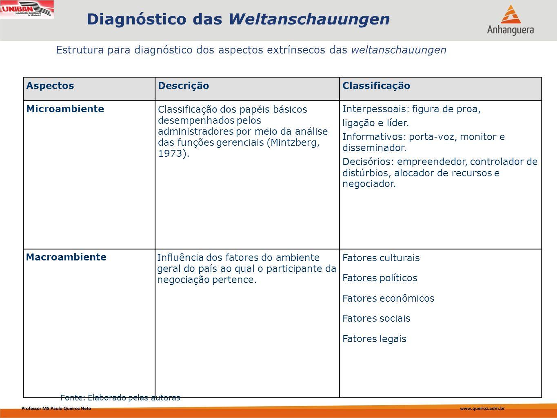 Capa da Obra Estrutura para diagnóstico dos aspectos extrínsecos das weltanschauungen Diagnóstico das Weltanschauungen Fonte: Elaborado pelas autoras