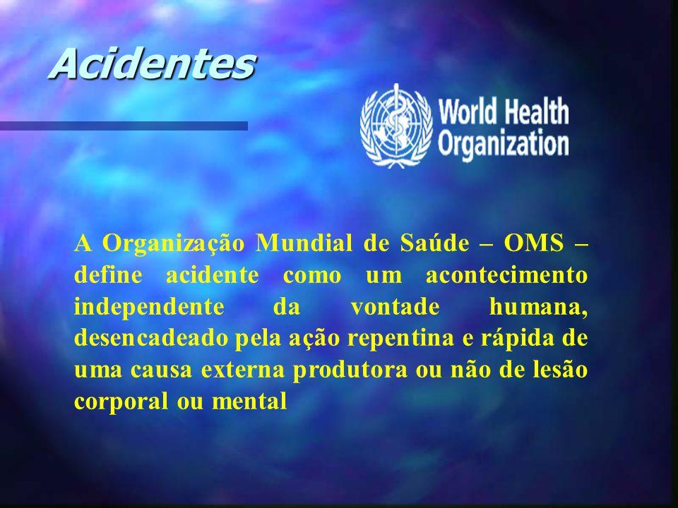 Acidentes A Organização Mundial de Saúde – OMS – define acidente como um acontecimento independente da vontade humana, desencadeado pela ação repentin
