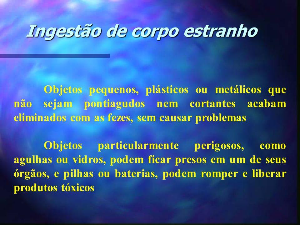 Ingestão de corpo estranho Objetos pequenos, plásticos ou metálicos que não sejam pontiagudos nem cortantes acabam eliminados com as fezes, sem causar
