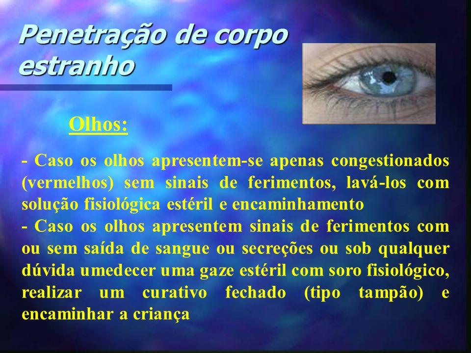 Olhos: - Caso os olhos apresentem-se apenas congestionados (vermelhos) sem sinais de ferimentos, lavá-los com solução fisiológica estéril e encaminham