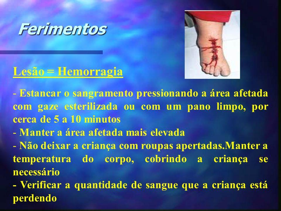Lesão = Hemorragia - Estancar o sangramento pressionando a área afetada com gaze esterilizada ou com um pano limpo, por cerca de 5 a 10 minutos - Mant