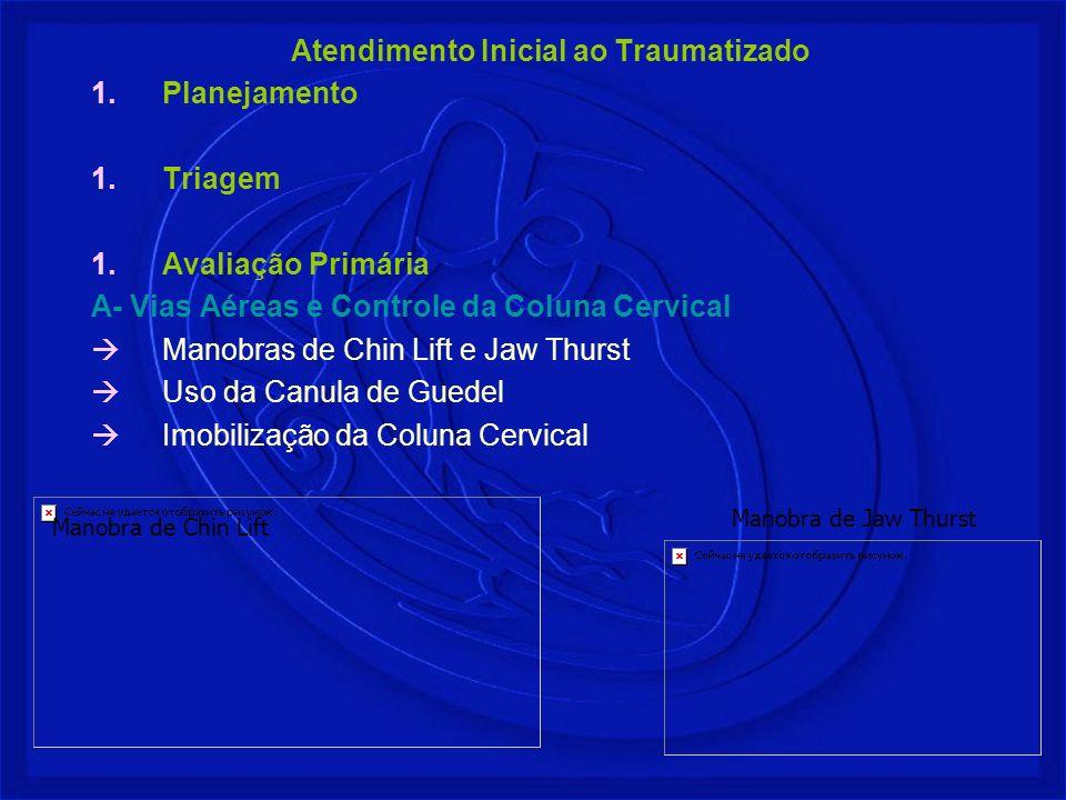 Atendimento Inicial ao Traumatizado Planejamento Triagem Avaliação Primária A- Vias Aéreas e Controle da Coluna Cervical Manobras de Chin Lift e Jaw T