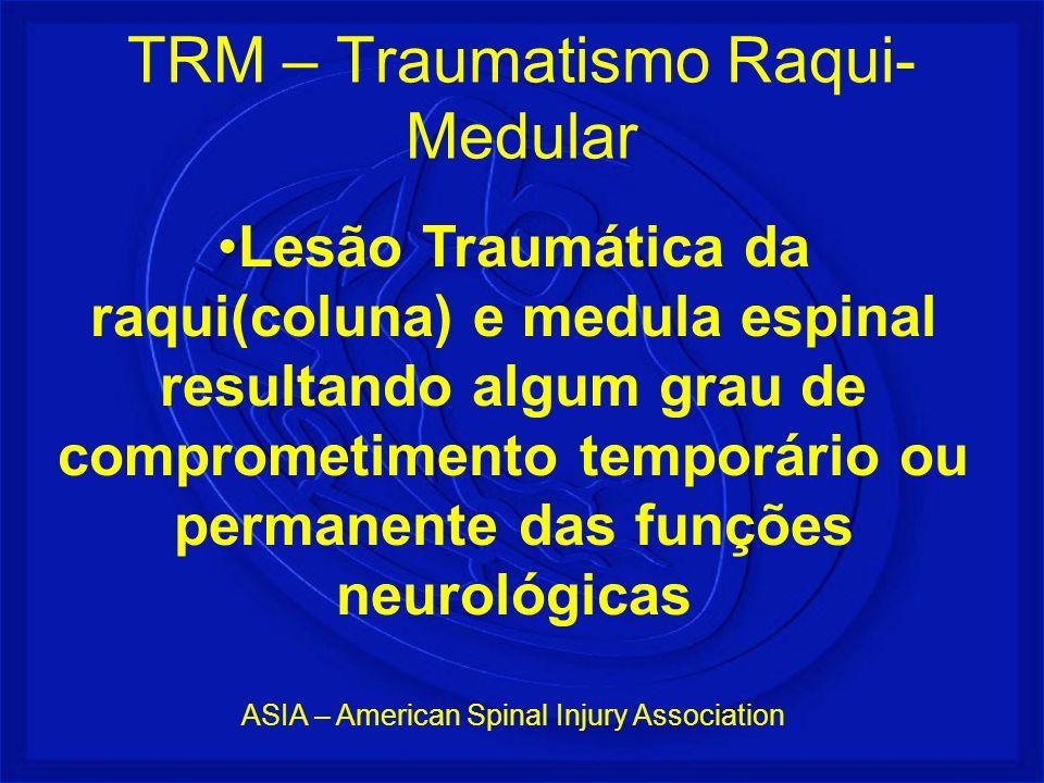 Lesão Traumática da raqui(coluna) e medula espinal resultando algum grau de comprometimento temporário ou permanente das funções neurológicas ASIA – A