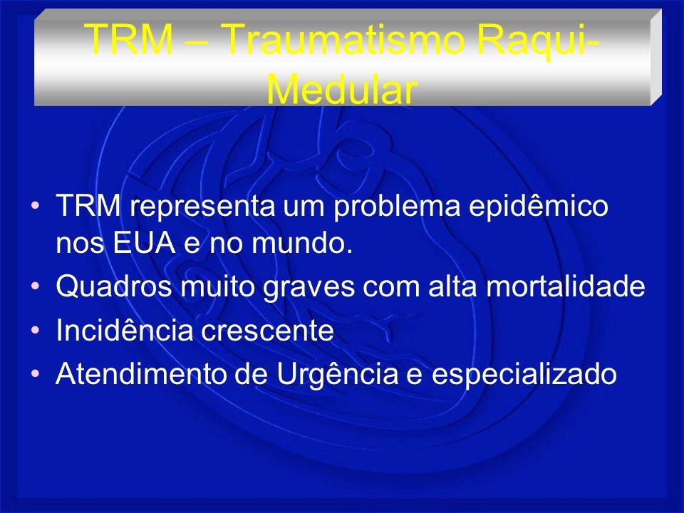 Maior causa é o acidente de trânsito – 50% Homem jovem 25 a 35 anos Brasil - 70 a 90 casos/100.000 habitantes Mortalidade – 30% no local 10% 1° ano 50% tetrapl é gicos TRM – Traumatismo Raqui- Medular