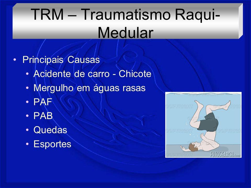 Principais Causas Acidente de carro - Chicote Mergulho em águas rasas PAF PAB Quedas Esportes TRM – Traumatismo Raqui- Medular