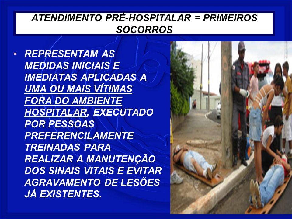 ATENDIMENTO PRÉ-HOSPITALAR = PRIMEIROS SOCORROS REPRESENTAM AS MEDIDAS INICIAIS E IMEDIATAS APLICADAS A UMA OU MAIS VÍTIMAS FORA DO AMBIENTE HOSPITALA