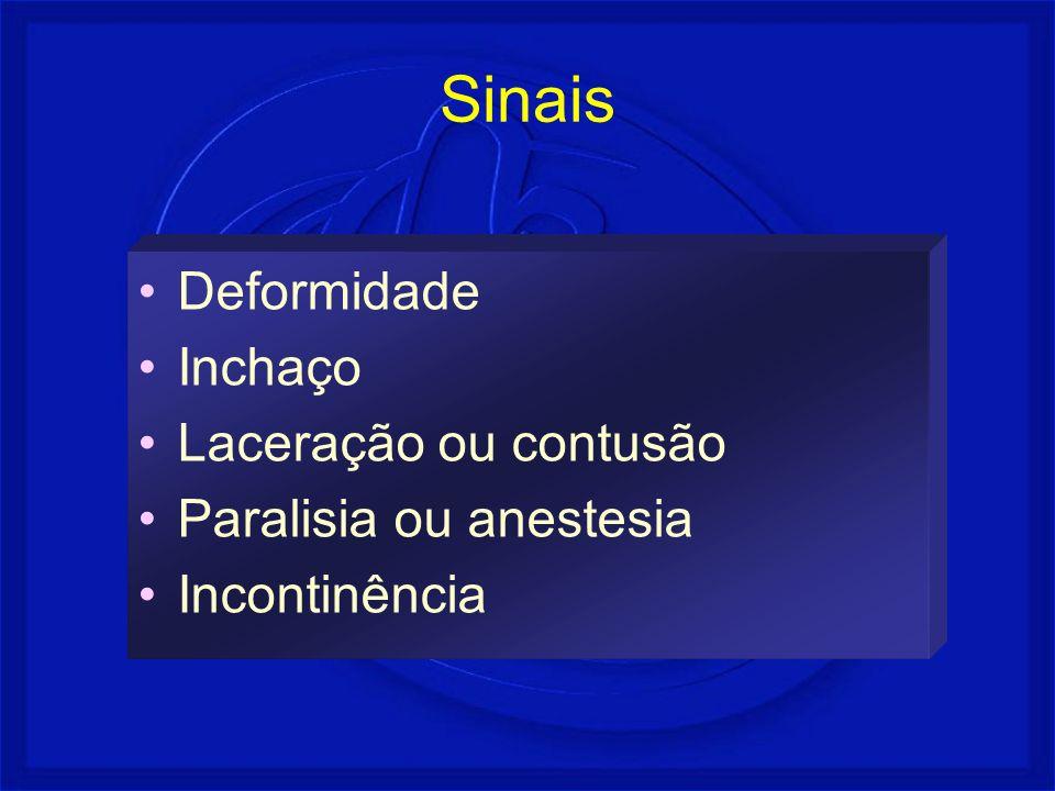 Sinais Deformidade Inchaço Laceração ou contusão Paralisia ou anestesia Incontinência