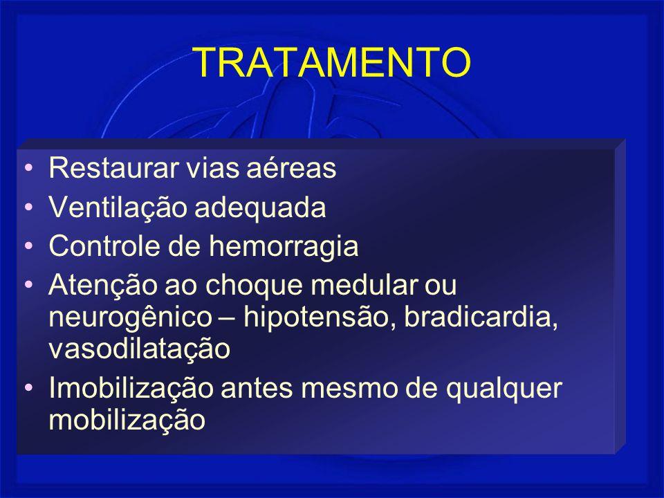 TRATAMENTO Restaurar vias aéreas Ventilação adequada Controle de hemorragia Atenção ao choque medular ou neurogênico – hipotensão, bradicardia, vasodi
