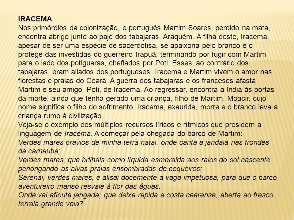 IRACEMA Nos primórdios da colonização, o português Martim Soares, perdido na mata, encontra abrigo junto ao pajé dos tabajaras, Araquém. A filha deste