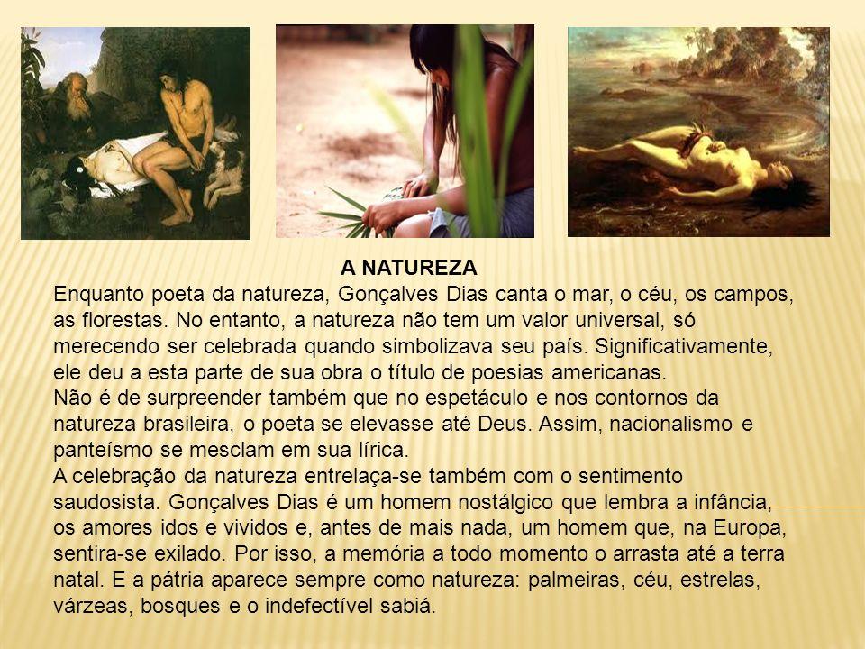 A NATUREZA Enquanto poeta da natureza, Gonçalves Dias canta o mar, o céu, os campos, as florestas. No entanto, a natureza não tem um valor universal,