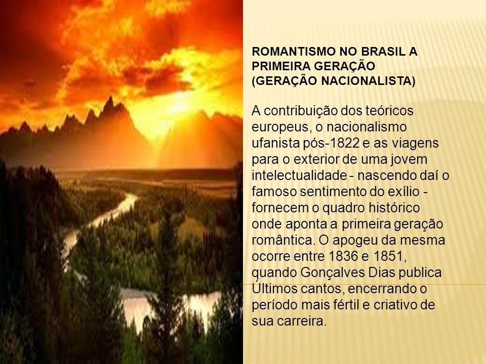 ROMANTISMO NO BRASIL A PRIMEIRA GERAÇÃO (GERAÇÃO NACIONALISTA) A contribuição dos teóricos europeus, o nacionalismo ufanista pós-1822 e as viagens par