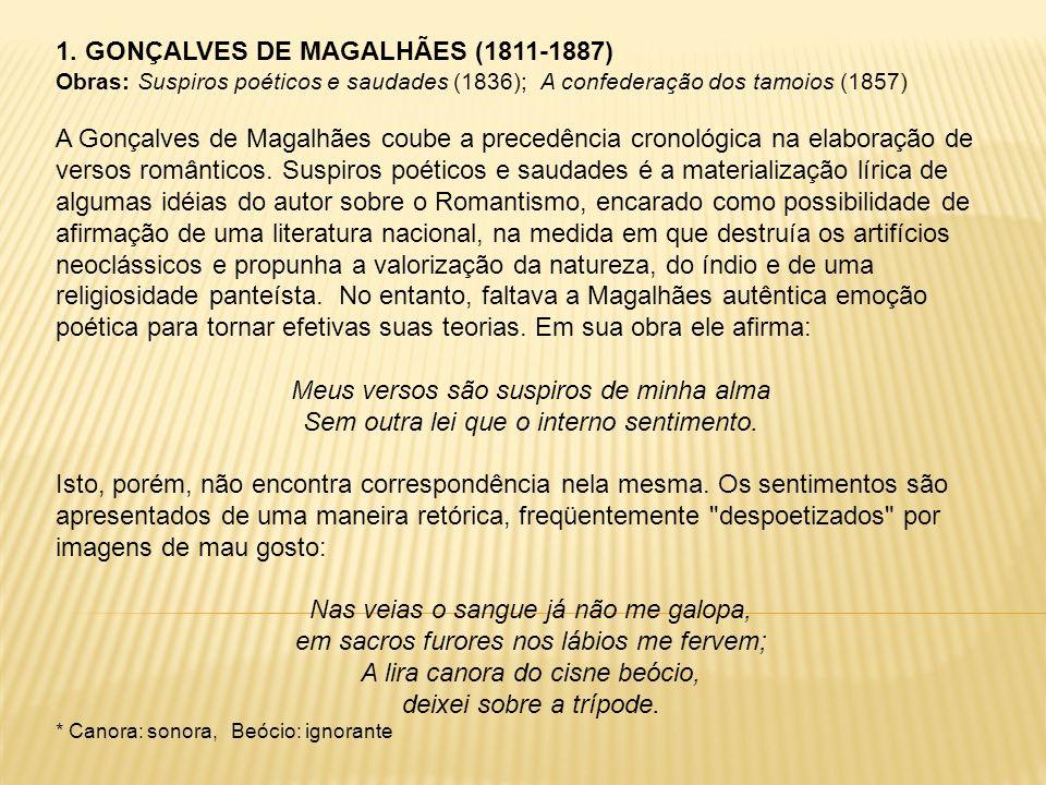 1. GONÇALVES DE MAGALHÃES (1811-1887) Obras: Suspiros poéticos e saudades (1836); A confederação dos tamoios (1857) A Gonçalves de Magalhães coube a p