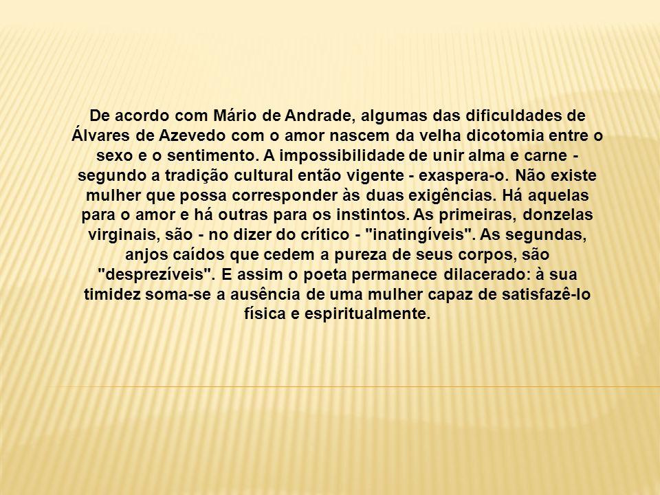 De acordo com Mário de Andrade, algumas das dificuldades de Álvares de Azevedo com o amor nascem da velha dicotomia entre o sexo e o sentimento. A imp