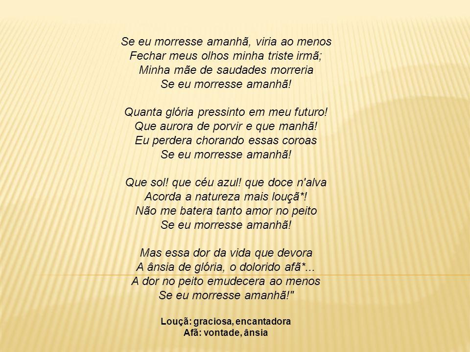 No poema Lembrança de morrer, Álvares de Azevedo dá instruções sobre o seu túmulo e sua lápide: Quando em meu peito rebentar-se a fibra, Que o espírito enlaça à dor vivente, Não derramem por mim nem uma lágrima Em pálpebra demente.