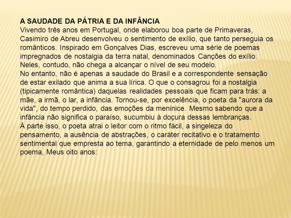 A SAUDADE DA PÁTRIA E DA INFÂNCIA Vivendo três anos em Portugal, onde elaborou boa parte de Primaveras, Casimiro de Abreu desenvolveu o sentimento de exílio, que tanto perseguia os românticos.