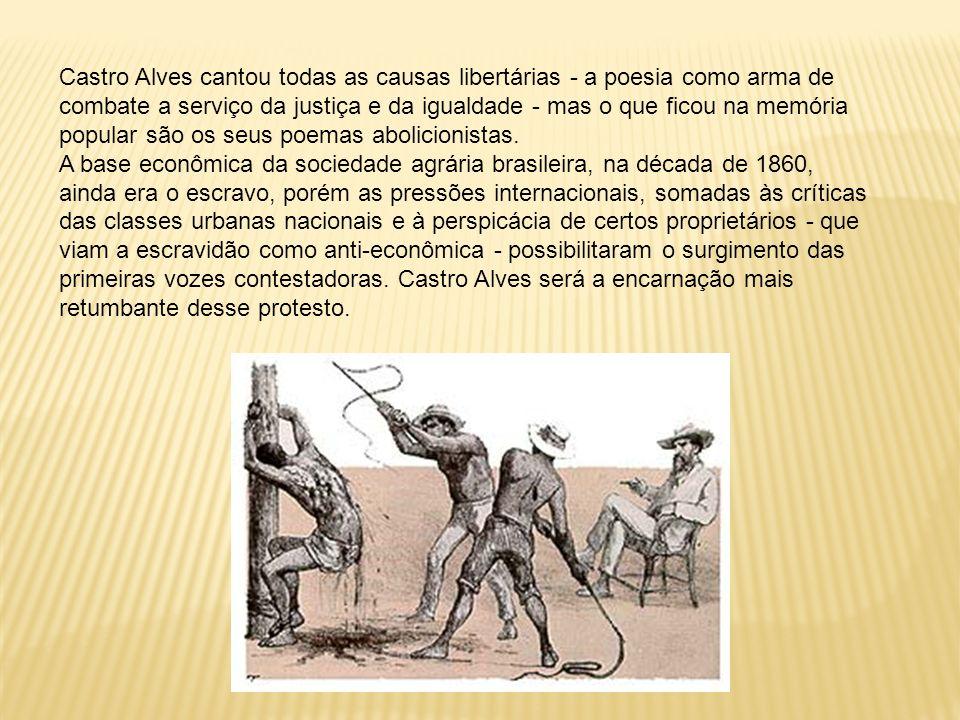 Castro Alves cantou todas as causas libertárias - a poesia como arma de combate a serviço da justiça e da igualdade - mas o que ficou na memória popul