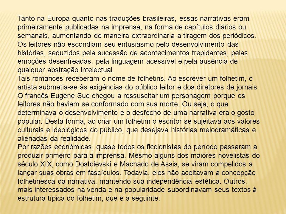 Tanto na Europa quanto nas traduções brasileiras, essas narrativas eram primeiramente publicadas na imprensa, na forma de capítulos diários ou semanai