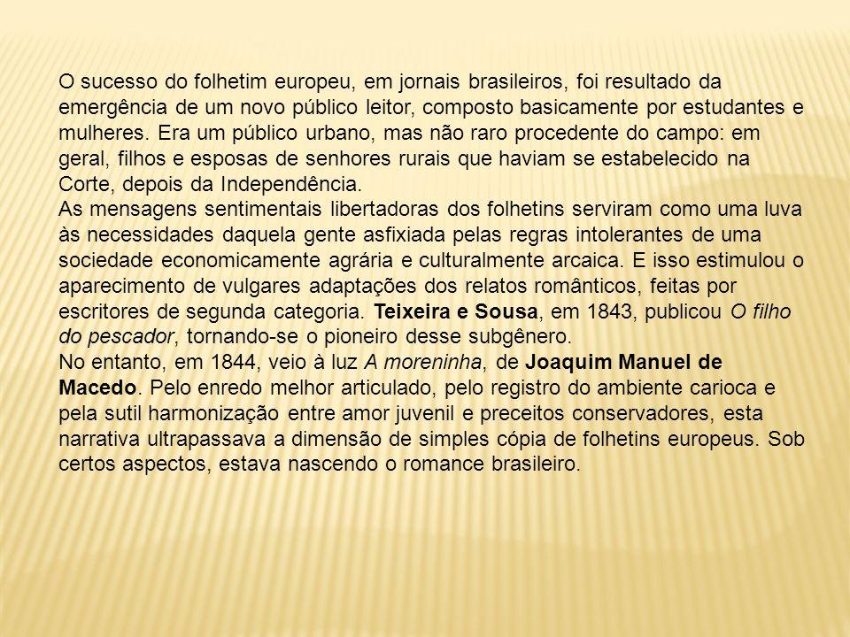 O sucesso do folhetim europeu, em jornais brasileiros, foi resultado da emergência de um novo público leitor, composto basicamente por estudantes e mu