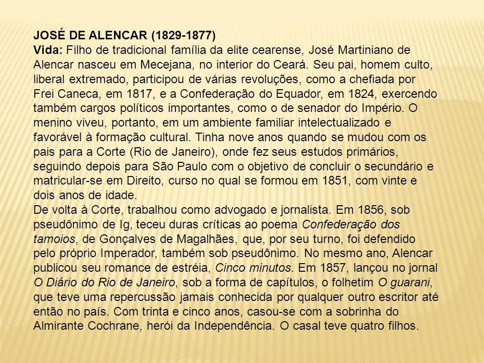 JOSÉ DE ALENCAR (1829-1877) Vida: Filho de tradicional família da elite cearense, José Martiniano de Alencar nasceu em Mecejana, no interior do Ceará.