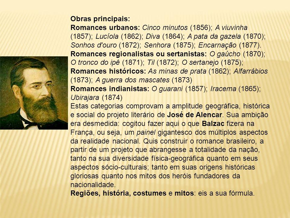 Obras principais: Romances urbanos: Cinco minutos (1856); A viuvinha (1857); Lucíola (1862); Diva (1864); A pata da gazela (1870); Sonhos d'ouro (1872