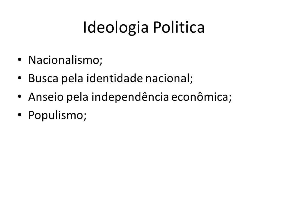 Ideologia Politica Nacionalismo; Busca pela identidade nacional; Anseio pela independência econômica; Populismo;