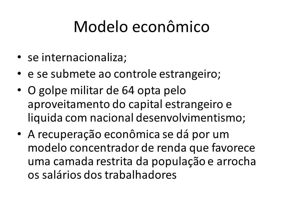 Modelo econômico se internacionaliza; e se submete ao controle estrangeiro; O golpe militar de 64 opta pelo aproveitamento do capital estrangeiro e li