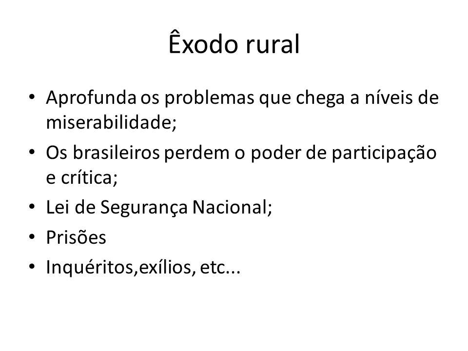 Êxodo rural Aprofunda os problemas que chega a níveis de miserabilidade; Os brasileiros perdem o poder de participação e crítica; Lei de Segurança Nac