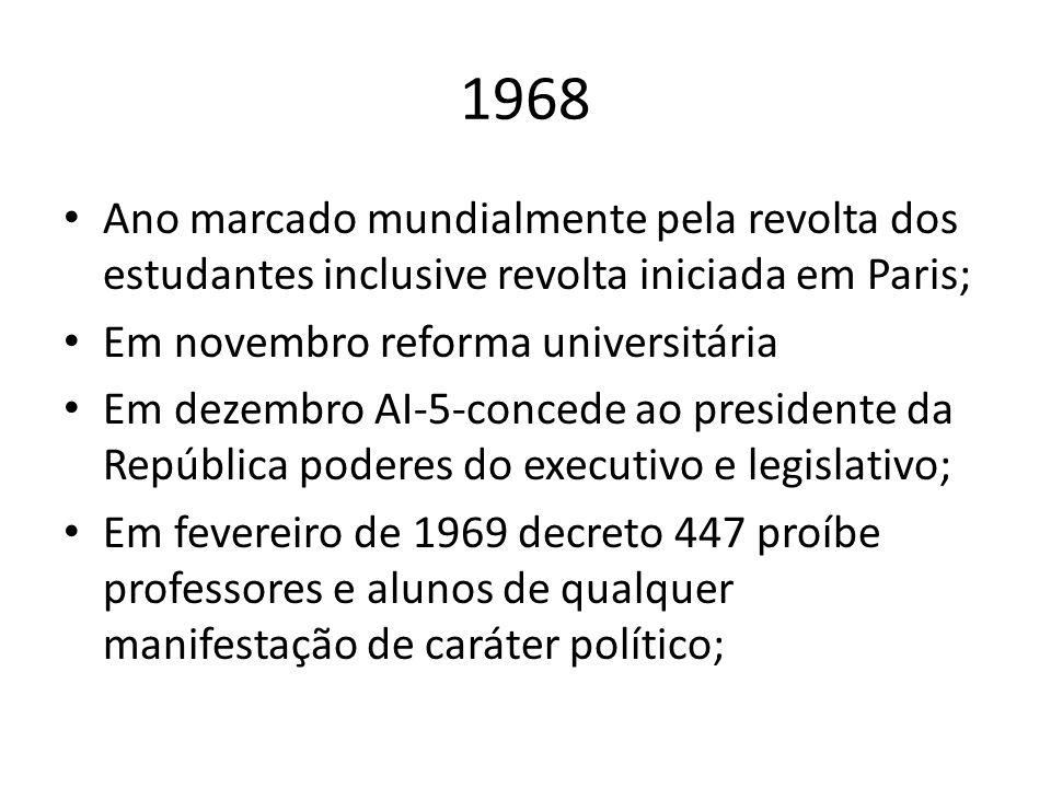 1968 Ano marcado mundialmente pela revolta dos estudantes inclusive revolta iniciada em Paris; Em novembro reforma universitária Em dezembro AI-5-conc