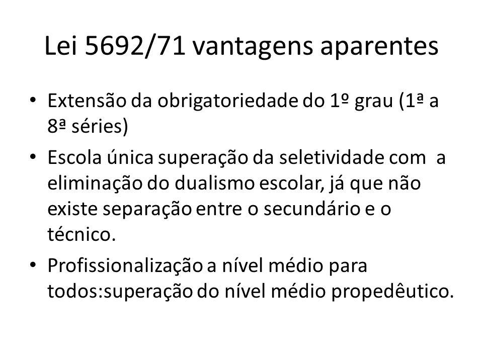 Lei 5692/71 vantagens aparentes Extensão da obrigatoriedade do 1º grau (1ª a 8ª séries) Escola única superação da seletividade com a eliminação do dua