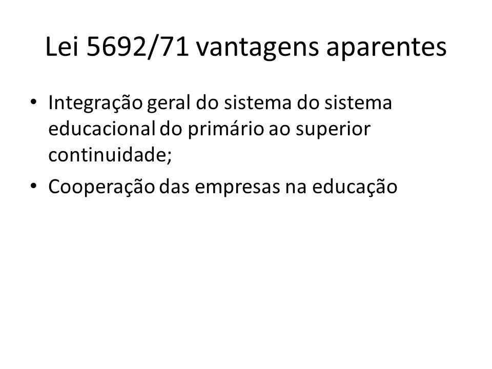Lei 5692/71 vantagens aparentes Integração geral do sistema do sistema educacional do primário ao superior continuidade; Cooperação das empresas na ed