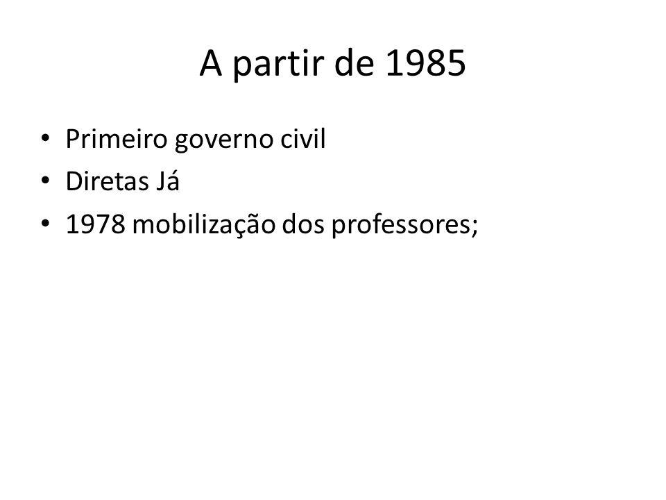 A partir de 1985 Primeiro governo civil Diretas Já 1978 mobilização dos professores;