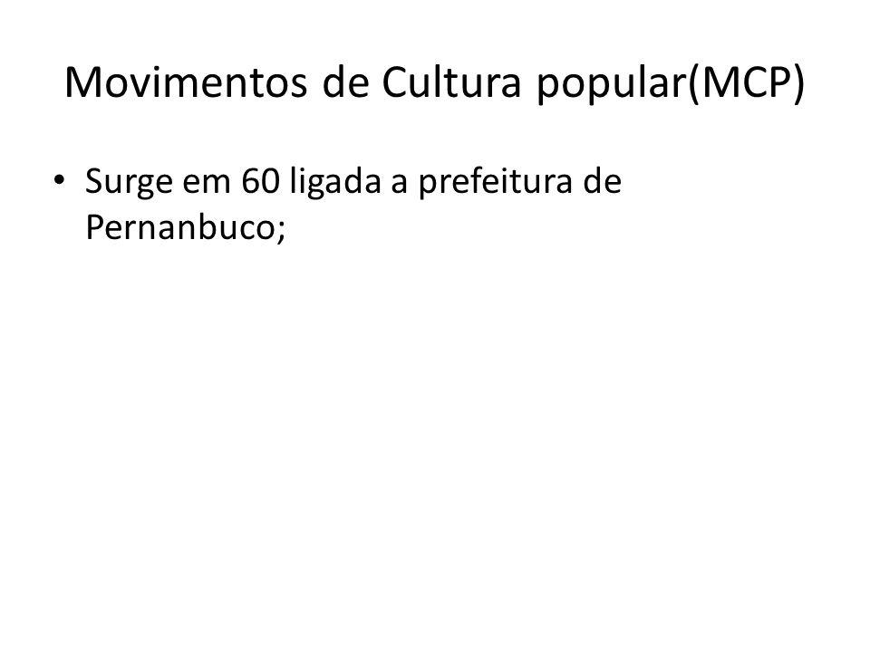 Movimentos de Cultura popular(MCP) Surge em 60 ligada a prefeitura de Pernanbuco;