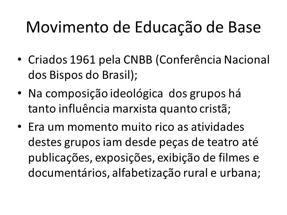 Movimento de Educação de Base Criados 1961 pela CNBB (Conferência Nacional dos Bispos do Brasil); Na composição ideológica dos grupos há tanto influên