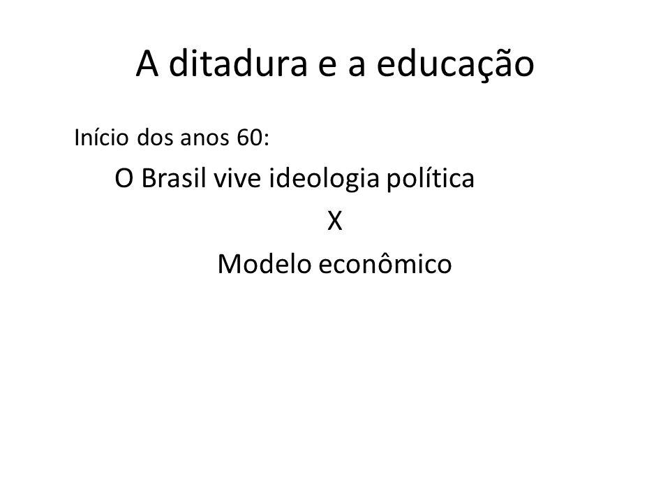 A ditadura e a educação Início dos anos 60: O Brasil vive ideologia política X Modelo econômico