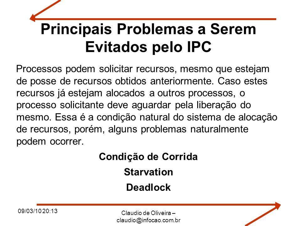 09/03/10 20:13 Claudio de Oliveira – claudio@infocao.com.br Principais Problemas a Serem Evitados pelo IPC Processos podem solicitar recursos, mesmo q