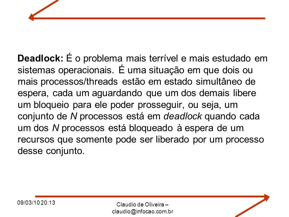 09/03/10 20:13 Claudio de Oliveira – claudio@infocao.com.br Deadlock: É o problema mais terrível e mais estudado em sistemas operacionais. É uma situa