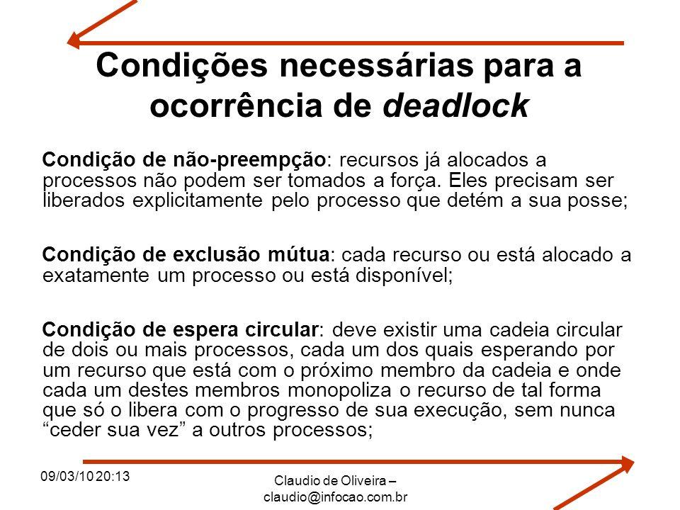 09/03/10 20:13 Claudio de Oliveira – claudio@infocao.com.br Condições necessárias para a ocorrência de deadlock Condição de não-preempção: recursos já