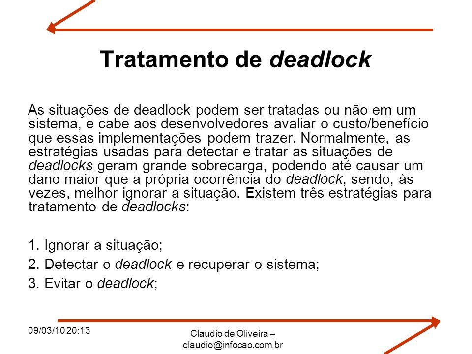 09/03/10 20:13 Claudio de Oliveira – claudio@infocao.com.br Tratamento de deadlock As situações de deadlock podem ser tratadas ou não em um sistema, e