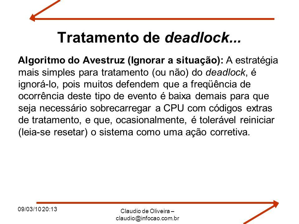 09/03/10 20:13 Claudio de Oliveira – claudio@infocao.com.br Tratamento de deadlock... Algoritmo do Avestruz (Ignorar a situação): A estratégia mais si